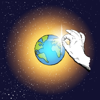 God's hand holding and creating the sun or star near planet Earth. Christian Seven Days of Creation concept. Day Four, the sun and the moon. Genesis. Day and light Bible creation story. Vector.